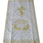 Покрывало в гроб стеганое «Крест с розами»