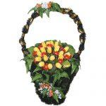 Корзинка с цветами ритуальная «Ладья» заказная  01