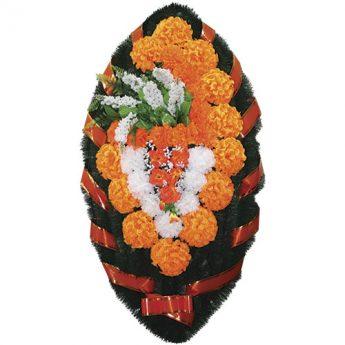 Венок ритуальный искусственные цветы 110см 19