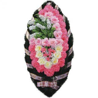 Венок ритуальный искусственные цветы 110см 04