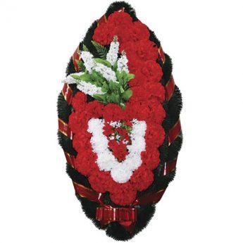 Венок ритуальный искусственные цветы 110см 06