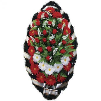 Венок ритуальный искусственные цветы 110см 09