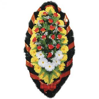 Венок ритуальный искусственные цветы 110см 11