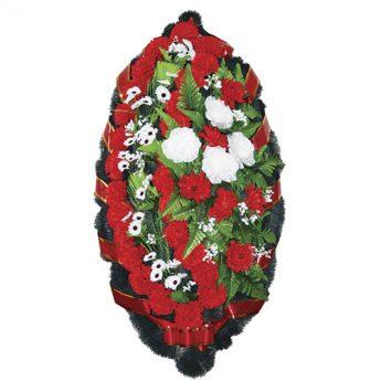 Венок ритуальный искусственные цветы 110см 14