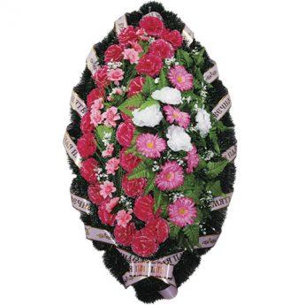 Венок ритуальный искусственные цветы 110см 15