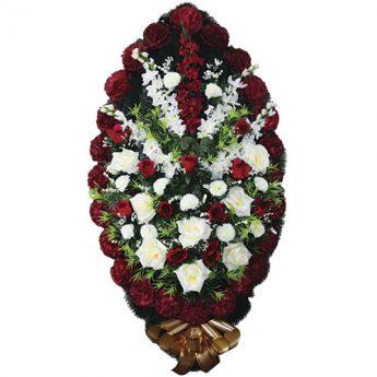 Венок ритуальный искусственные цветы 110см 16