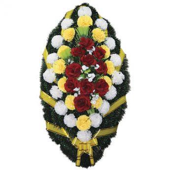Венок ритуальный искусственные цветы 110см 21