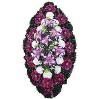 Венок ритуальный искусственные цветы 110см 25