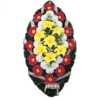 Венок ритуальный искусственные цветы 110см 26
