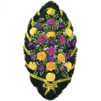 Венок ритуальный искусственные цветы 110см 35