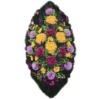 Венок ритуальный искусственные цветы 110см 28