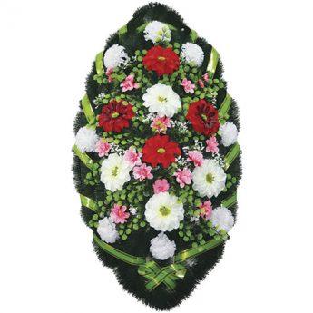Венок ритуальный искусственные цветы 110см 29