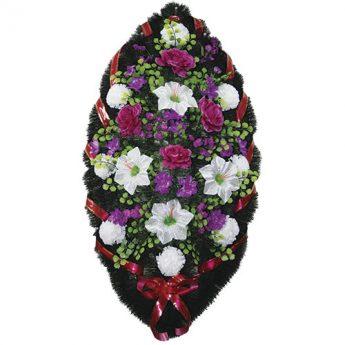 Венок ритуальный искусственные цветы 110см 34
