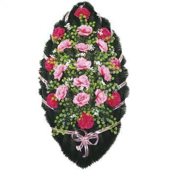 Венок ритуальный искусственные цветы 110см 36