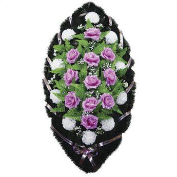 Венок ритуальный искусственные цветы 110см 38