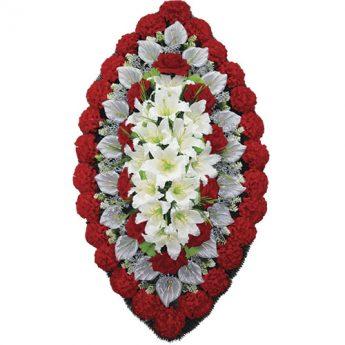 Венок ритуальный искусственные цветы 125см 02