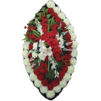 Венок ритуальный искусственные цветы 125см 08
