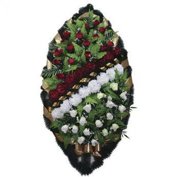 Венок ритуальный искусственные цветы 125см 09