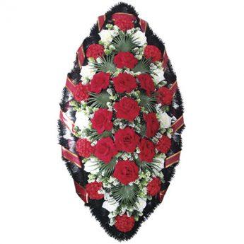 Венок ритуальный искусственные цветы 140см 01