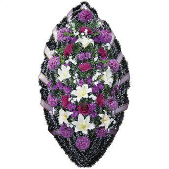 Венок ритуальный искусственные цветы 140см 11