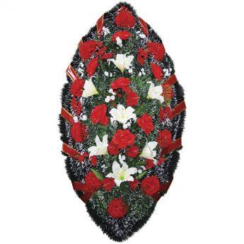 Венок ритуальный искусственные цветы 140см 12