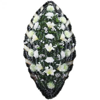 Венок ритуальный искусственные цветы 140см 14