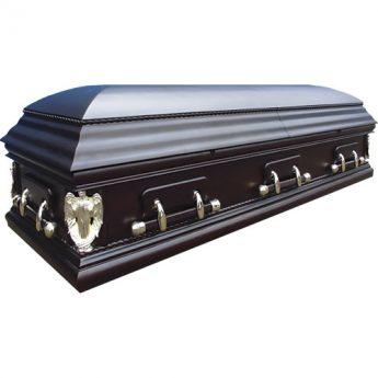 Гроб двухкрышечный лакированный матовый «Ангел»