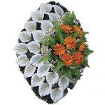 Венок ритуальный искусственные цветы 70см 01