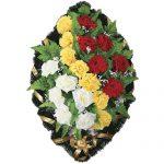 Венок ритуальный искусственные цветы 70см 02