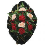 Венок ритуальный искусственные цветы 70см 04