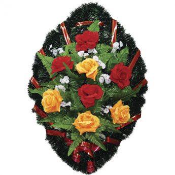 Венок ритуальный искусственные цветы 70см 05