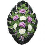 Венок ритуальный искусственные цветы 70см 06