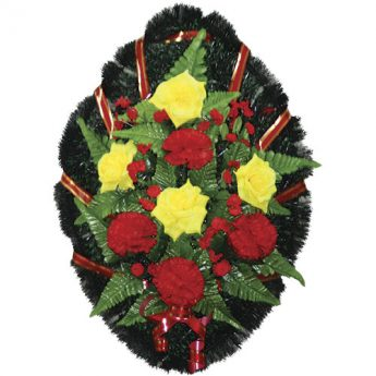 Венок ритуальный искусственные цветы 70см 14