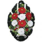Венок ритуальный искусственные цветы 70см 08