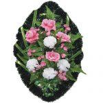 Венок ритуальный искусственные цветы 70см 09