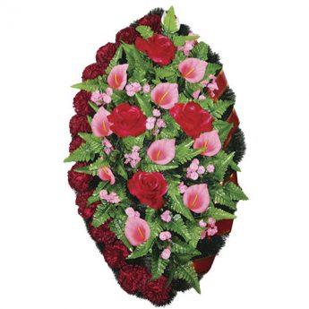 Венок ритуальный искусственные цветы 90см 02