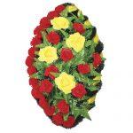 Венок ритуальный искусственные цветы 90см 03