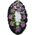 Венок ритуальный искусственные цветы 90см 04