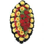 Венок ритуальный искусственные цветы 90см 05