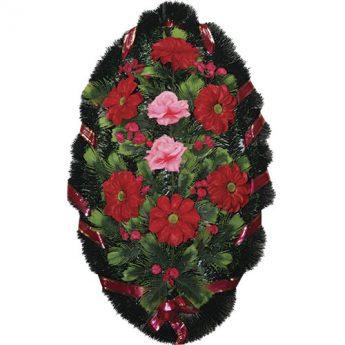 Венок ритуальный искусственные цветы 90см 13
