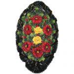 Венок ритуальный искусственные цветы 90см 07