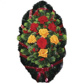 Венок ритуальный искусственные цветы 90см 14