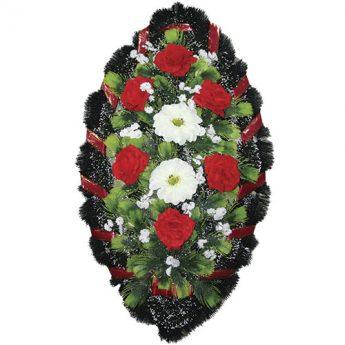 Венок ритуальный искусственные цветы 90см 09