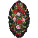 Венок ритуальный искусственные цветы 90см 11