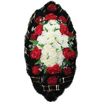 Венок ритуальный из искусственных цветов 110см 02