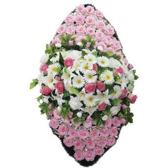 Венок ритуальный искусственные цветы 140см 10